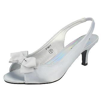 Ladies Spot On Slip On Slingback Heeled Sandals