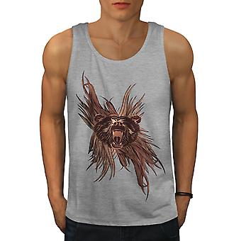 Wild Bear Head Animal Men GreyTank Top | Wellcoda