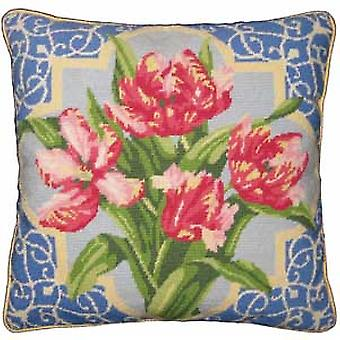 Pink Parrot Tulips Needlepoint Kit