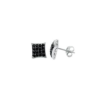 Sterling 925 Silver earrings - 4 x 4 black