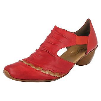 Ladies Rieker Block Heeled Shoes 43783