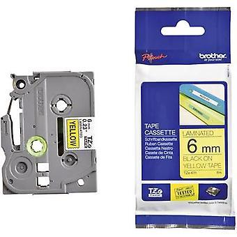 Etichettatura nastro Brother TZe, colore nastro TZe-611 TZ: Font giallo colore: Nero 6 mm 8 m