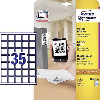 Avery-Zweckform L7120-25 Labels 35 x 35 mm Paper White 875 pc(s) Permanent QR code stickers Inkjet, Laser, Copier