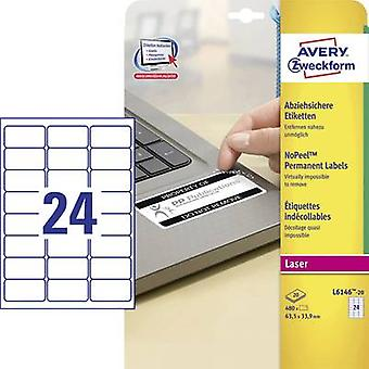 Avery-Zweckform L6146-20 Labels 63.5 x 33.9 mm Polyester film White 480 pc(s) Permanent Safety stickers, All-purpose labels Laser