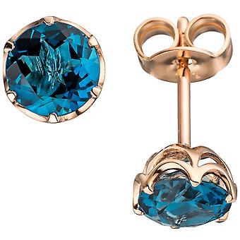 Blautopaz earrings 585 gold Rose Gold 2 blue topazes blue London blue earrings