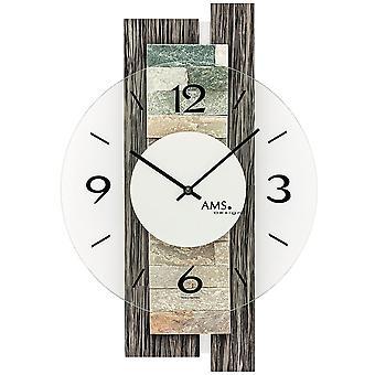 AMS 9544 parete orologio al quarzo analogico modern grigio legno guardare con pietra naturale e vetro