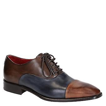 Men's cap toe oxfords in blu brandy color leather