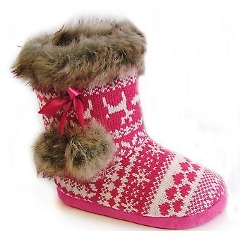 SlumberzzZ Girls Knitted & Faux Fur Hi Top Slipper Boot Ribbon & Pom Poms FT0563