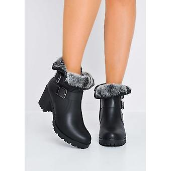 Faux Fur Lined Cleated Sole Block Heel PU Ankle Boots Black
