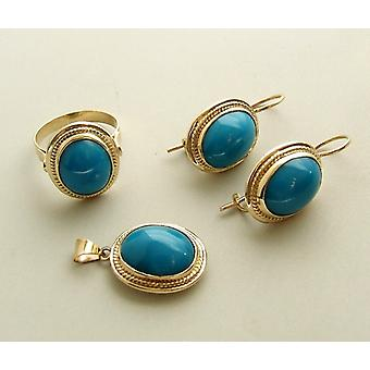 Gold ring, earrings and pendant with turquoise