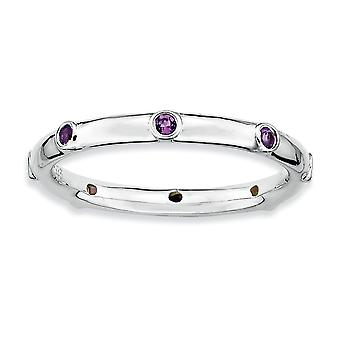 925 Sterling Silver Bezel Polished Stackable Expressions Amethyst Ring Jewelry Gifts for Women - Ring Size: 5 to 10