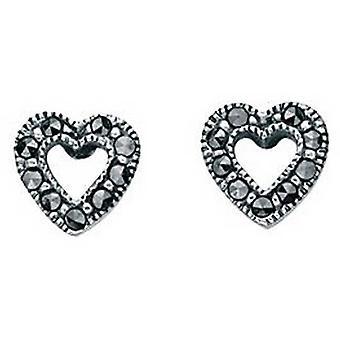 Beginnings Marcasite Open Heart Stud Earrings - Silver