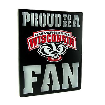 Proud To Be A Wisconsin Badgers Fan LED Lighted Cutout Metal Wall Sign