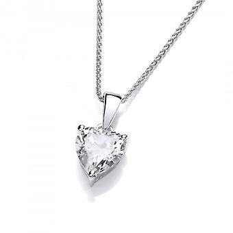 Cavendish Français simple cœur de cristal CZ en argent Sterling pendentif avec chaine en argent 16-18