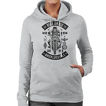 Ride Or Die Biker Lifestyle Women's Hooded Sweatshirt