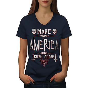 Make America Goth Women NavyV-Neck T-shirt | Wellcoda