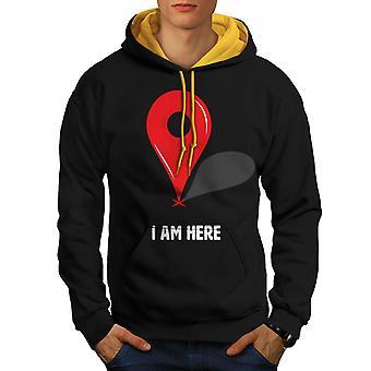 I Am Here Men Black (Gold Hood)Contrast Hoodie | Wellcoda