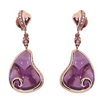 LXR 14k Rose Gold Pear Amethyst Earrings 10ct
