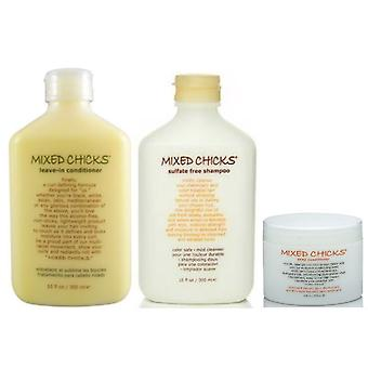 Mixed Chicks Sulphate Free Pack (Sulfate free Shampoo, Leave-in Conditioner, Deep Conditioner)