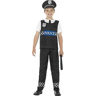 Kostium policjanta, czarny & biały, z góry, Spodnie & kapelusz