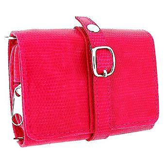 Mele Ladies-Girls Hot Pink Compact Travel Jewellery Purse 601