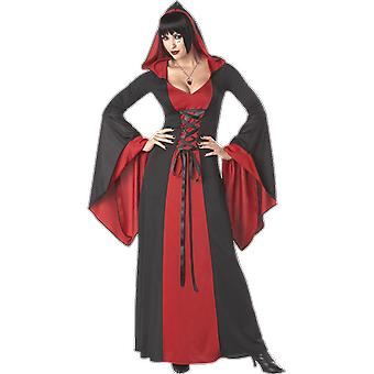 Womens Red Hooded Robe Halloween Vampire Gothic Fancy Dress Costume