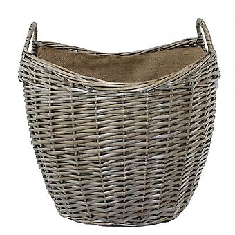 Large Scoop Neck Antique Wash Hessian Lined Wicker Log Basket