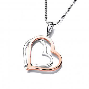 Cavendish Französisch Sterling Silber und Kupfer Twin Herz Anhänger mit Silber Kette