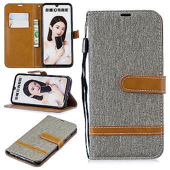 Huawei P Smart 2019 Handy Hülle Schutz-Tasche Case Cover Kartenfach Etui Wallet Grau