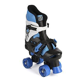 Xootz Kid's Quad Skates, blauw/zwart/wit rolschaatsen, maat 3-5