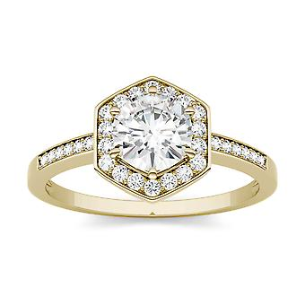 14K Yellow Gold Moissanite by Charles & Colvard 6mm Round Engagement Ring, 1.10cttw DEW