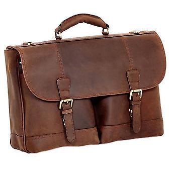 Ashwood Leather Hammersmith Cow Mud Henry Double Clasp Laptop Briefcase - Mud Brown