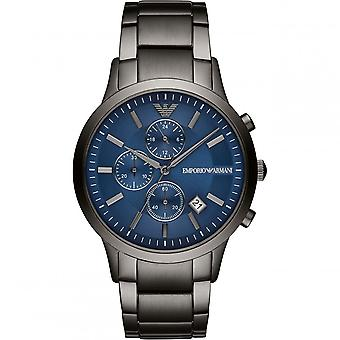 Armani Watches Ar11215 Grey & Blue Stainless Steel Chronograph Mens Watch