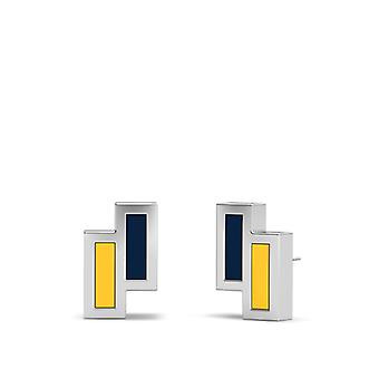 Murray State University Sterling Silver Asymmetric Enamel Stud Earrings In Blue and Yellow