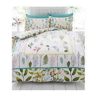 Botanical Flowers Duvet Cover and Pillowcase Set