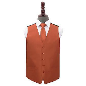 Rust Plain shantung bröllop väst & amp; Tie set