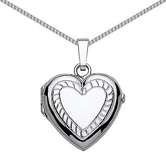 Jewelco London Rhodium Plated Sterling Silver Heart Striped Locket Necklace 18 inch