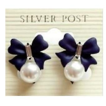 Earrings with bow, 1 pair (black)