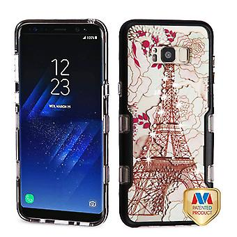 MYBAT Metallic Black/Eiffel Tower Diamante TUFF Panoview Hybrid Case for Galaxy S8 Plus