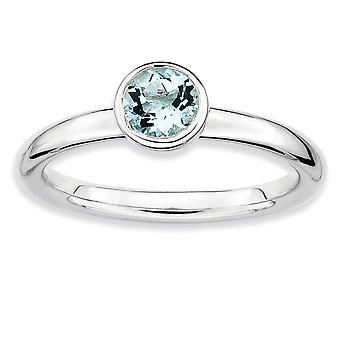 925 Sterling Silver Bezel Polido Rhodium plated Stackable Expressions Low 5mm Round Aquamarine Ring Jewely Gifts for