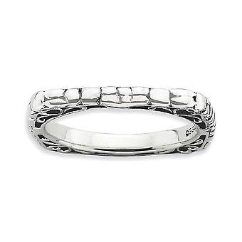 2,25 mm 925 Sterling Silber gemustert Finish stapelbare Ausdrücke poliert Platz Ring Größe 6 Schmuck Geschenke für Frauen