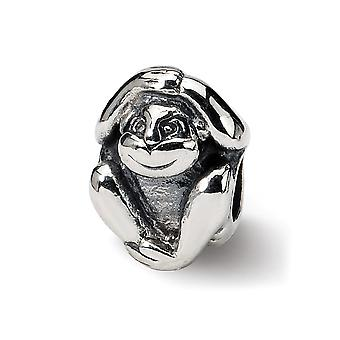 925 Sterling Silver Polished Reflections SimStars Monkey Bead Charm Pendant Necklace Jewelry Gifts for Women