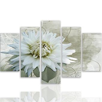 Vijf deel foto op canvas, Pentaptych, type A, witte bloesem