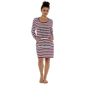 Ladies 100% Cotton Striped Print Nightdress Nighty Sleepwear