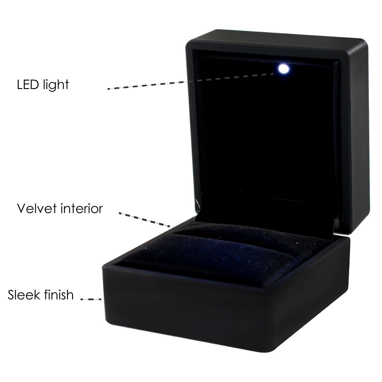 TRIXES Ring Box – Black LED Square Jewellery Box for Engagement Ring Black