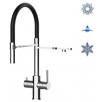 5-way Inox Filter Tap Black Spout And 2 Jets Spray, Ideal For Sparkling, Plain And Cooled Water Systems - Polished - 434