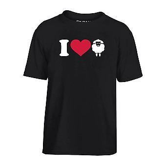 T-shirt bambino nero dec0014 amo a las ovejas