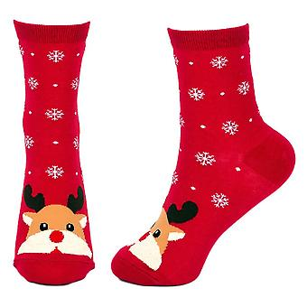 Women's Snow Scene Rudolf the Reindeer Christmas Crew Socks