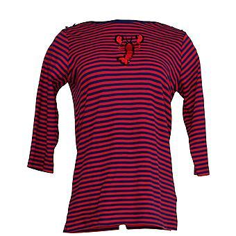 Quacker Factory Women's Top Striped Motif Boat Neck Shirt Red A288117