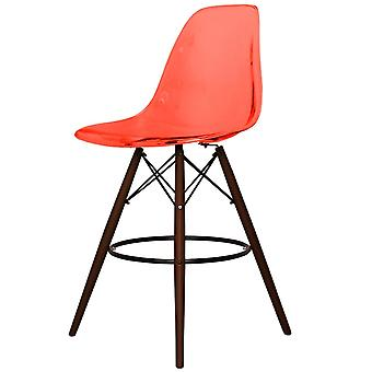 Charles Eames Style Ghost Red Plastic Bar Stool - Walnut Legs